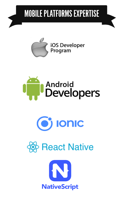 Rhoynar Team Mobile Platforms Expertise - iOS, Android, Ionic, React Native and NativeScript