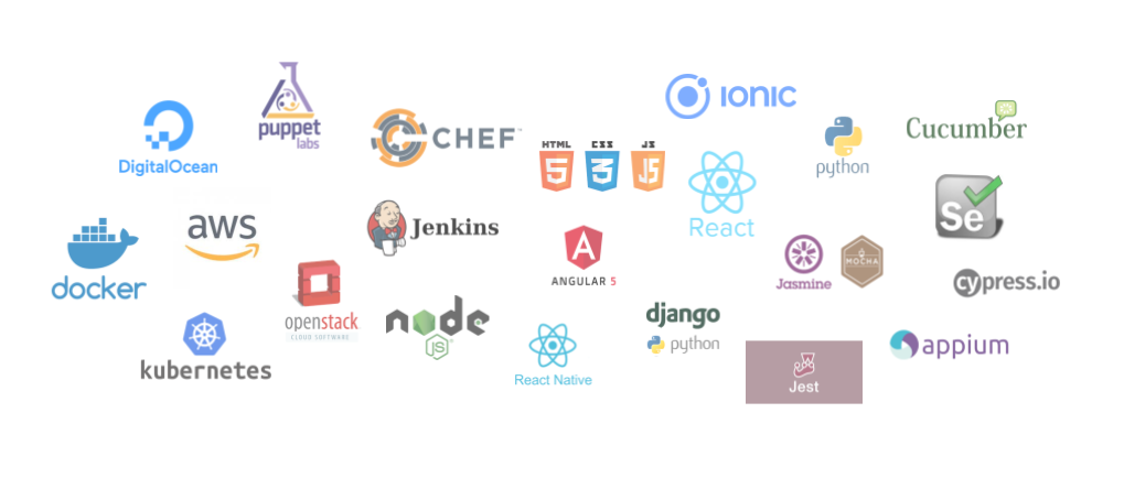 Rhoynar Software: Technical Expertise - Automation Testing Servies, Managed QA Services, AWS, DigitalOcean, Docker, Kubernetes, Chef, Puppet, Jenkins, NodeJS, ReactJS, Angular, HTML/CSS/JavaScrip, Python, Django, Cucumber, Selenium, Cypress.io, Appium, Jest, Jasmine, Mocha.
